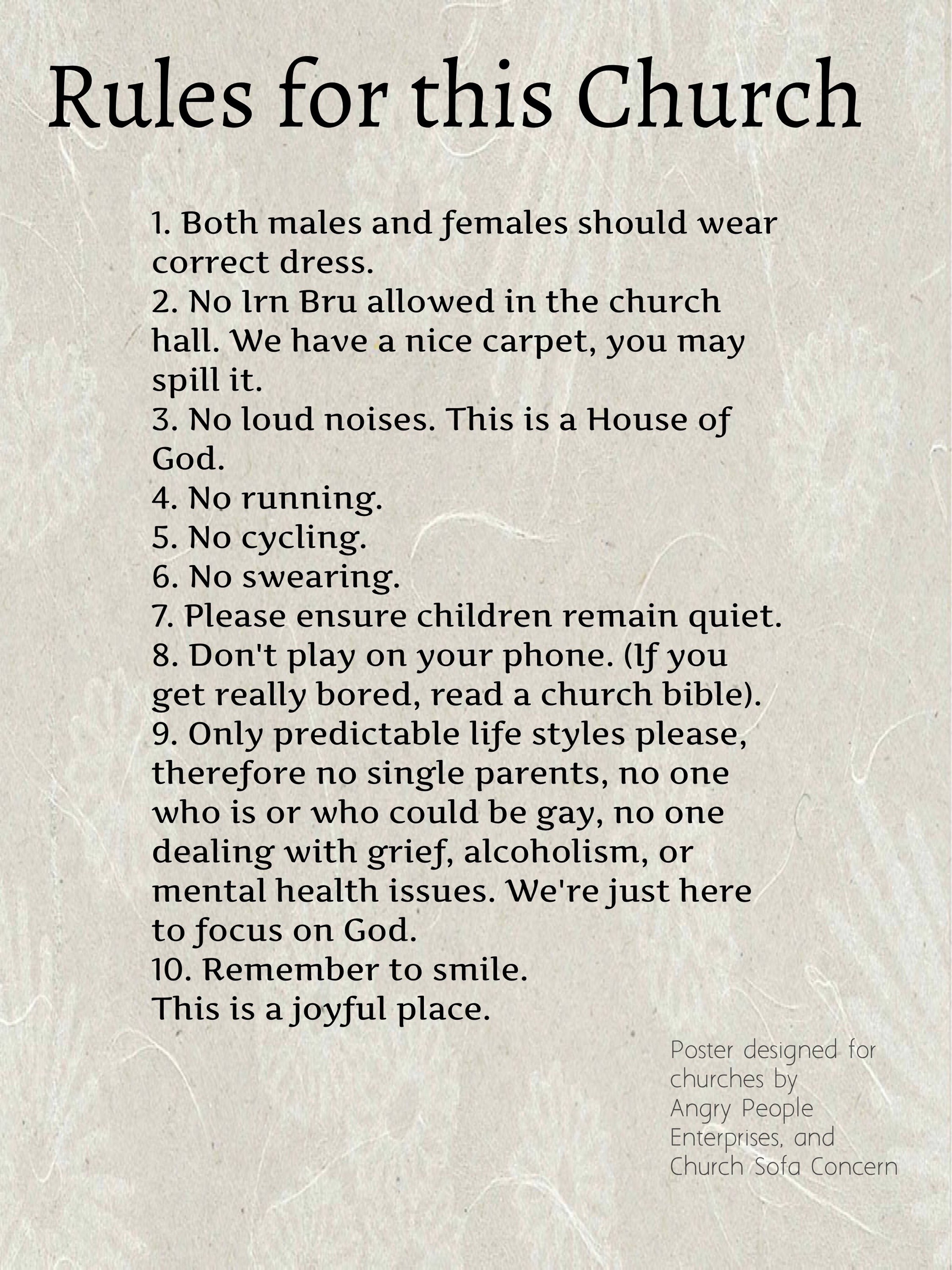 Rules For A Girls Bedroom: The Rules Of This Church
