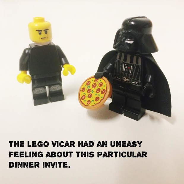 The first lesson the Lego Church Minister learnt was to be careful who he met for dinner....